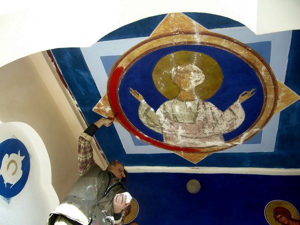 Iisus Emanuel restaurare frescă