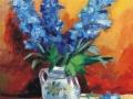 Albastrele flori albastre în cană de lut