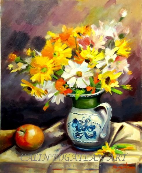 Flori galbene și albe și măr