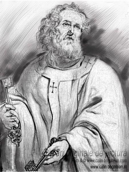 Reproducere pictură Sfântul Petru schiță desen