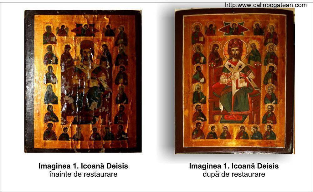 Restaurare icoană pe lemn Deisis
