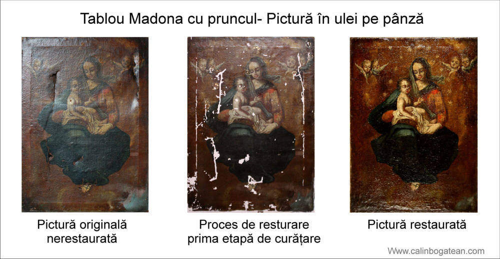 Restaurare pictură pe pânză Madona cu pruncul