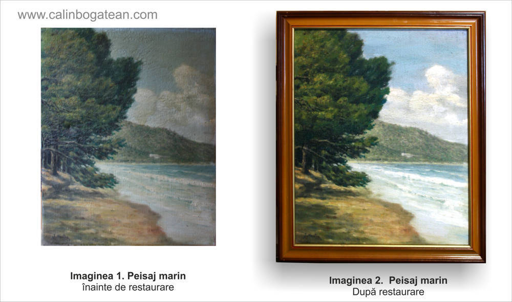 Restaurare tablou peisaj la marginea mării