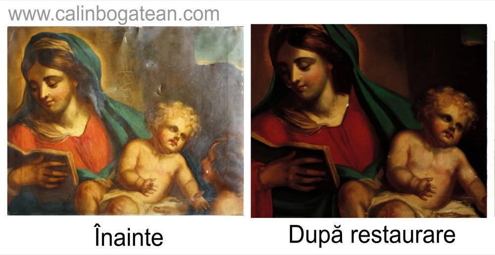Restaurare tablou Madona cu pruncul pictură realistă detaliu