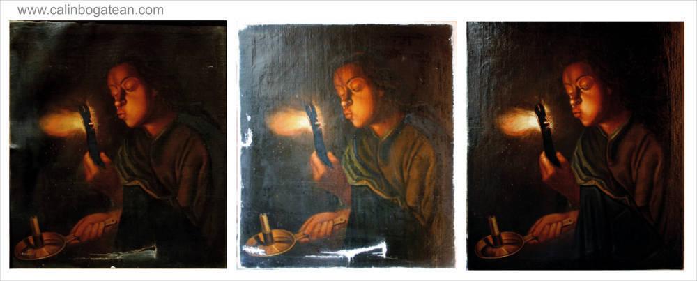 Restaurare tablou Fetița cu Jar