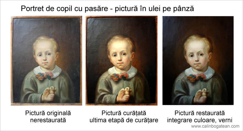 Restaurare tablou portret de copil cu pasăre în mână