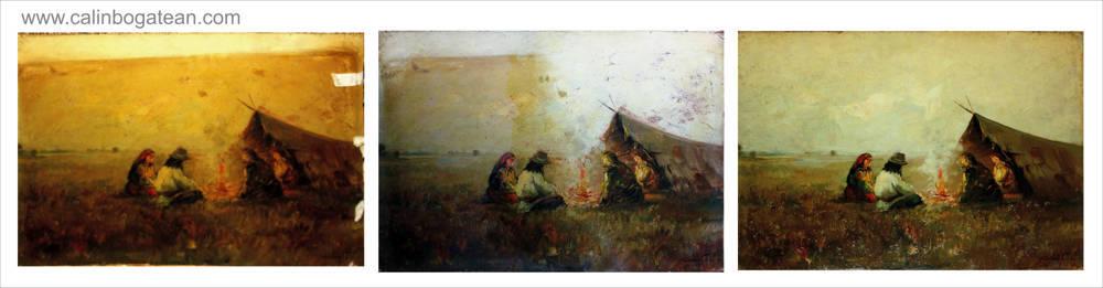 Restaurare tablou pictură  pe carton Șatra de Costion
