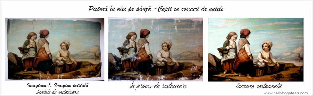 RESTAURARE pictura în ulei copii cu coșuri de nuiele