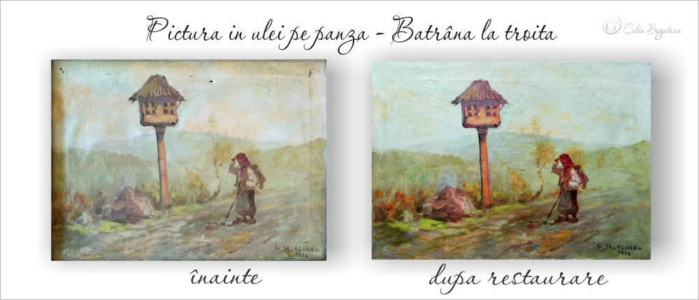 RESTAURARE tablou peisaj  cu bătrână la troiță