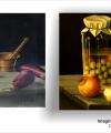 Restaurare tablou natură moartă cu borcan și legume