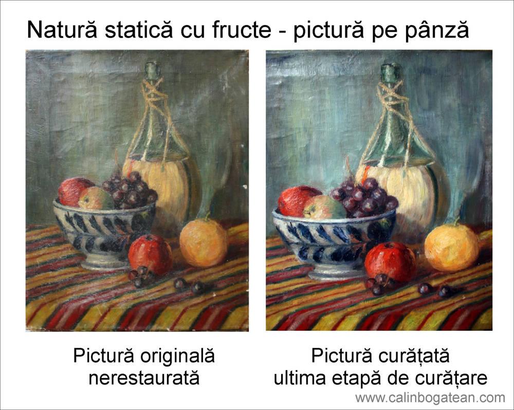 RESTAURARE tablou natură statică cu fructe și vas