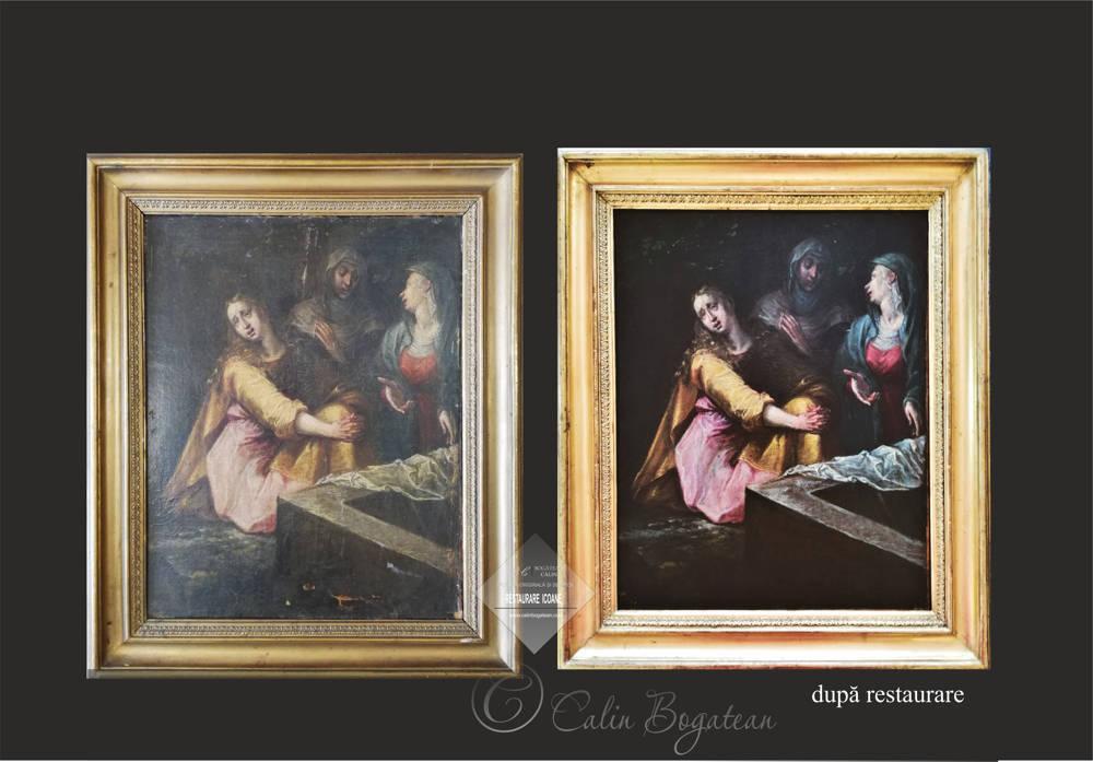 Restaurare pictură mironosițele la mormântul sfânt detaliu