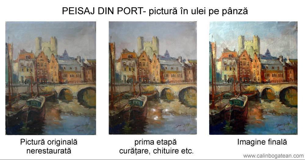 Restaurare tablou pictură  bărci în port