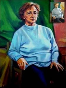 Portret detaliu bust cu maini pictură în ulei pe pânză