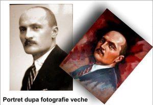Portret în ulei după poză veche alb negru pictură