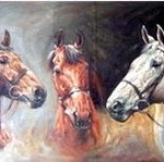 pictura în ulei cutrei cai