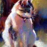 pictură pisică ulei pe pânză înpicioare