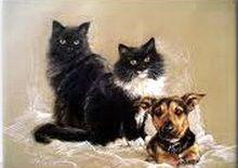 Compoziție cu pisici pictură în ulei pe pânză