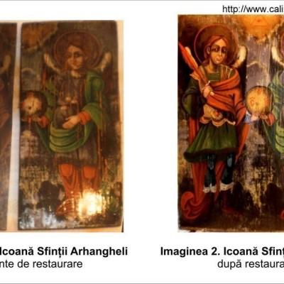 Restaurare icoană Sfinții Mihail şi Gavriil