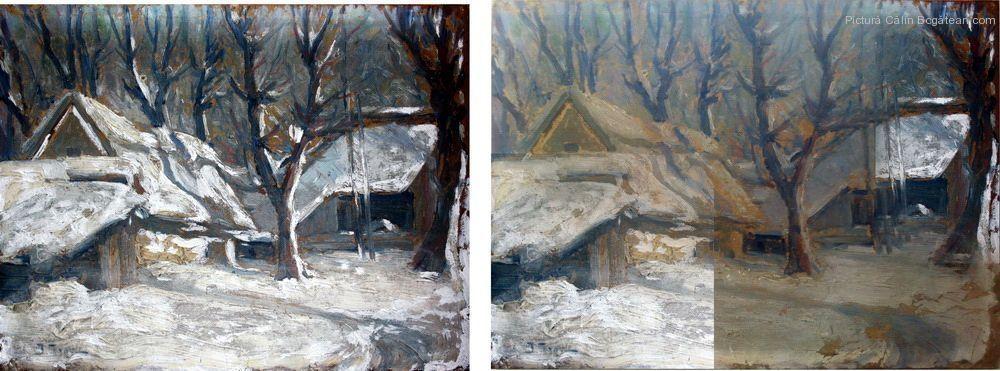 Restaurare pictura în ulei pe carton