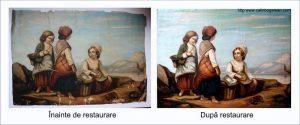 Restaurare pictura fetite cu cos
