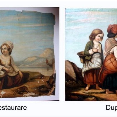 Restaurare pictură fetițe cu coș