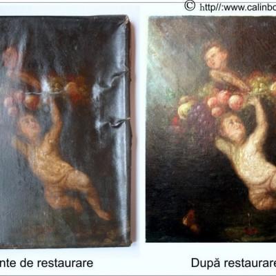 Restaurare tablou cu personaje si fructe