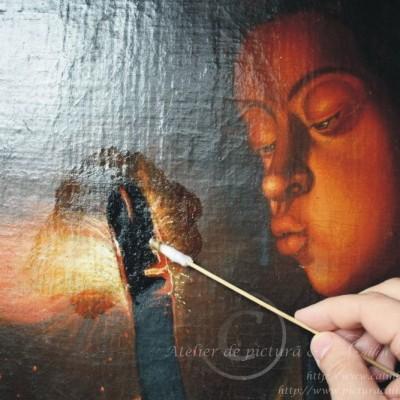 Restaurare tablou fetita cu jar îndepărtare verni