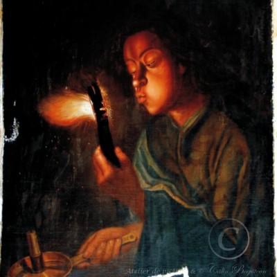 Restaurare fetita cu jar chituire lacune restaurare tablou pictură în uelie pe pânză