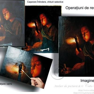 Operațiuni de restaurarer pictură restaurare tablou în ulei pe pânză