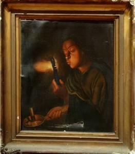 restaurare tablou Fetita cu Jar în mână și lumânare pictură în ulei pe pânză