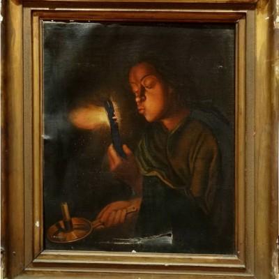 Restaurare tablou Fetita cu Jar în mână și lumânare