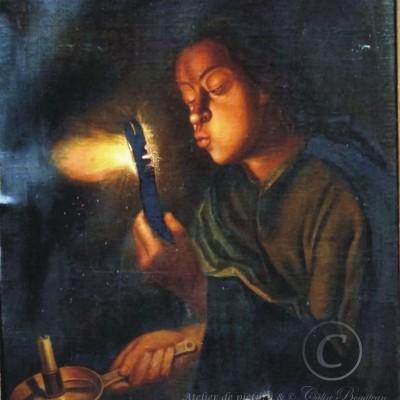 restaurare Fetita cu Jar în mână și lumanare imaginea initială