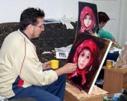 Reproducere tablou studiu după Nicolae Grigorescu demonstrație realizată în cadrul taberei de pictură din Sovata 2007.