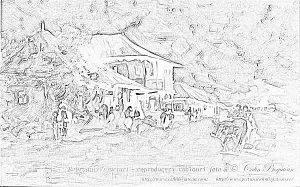 desen Cârciumă la Rucăr reproducere pictură în ulei