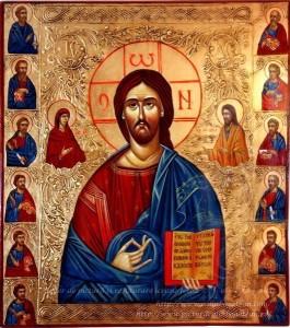 Deisis Iisus Hristos pictură pe lemn Deisis icoană bizantină pictată în tempera cu Iisus