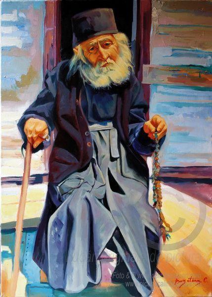PĂRINTELE IOAN GUTIU ATHOS Portret reprezentat în întregime (cap, gât, umeri, trunchi , mâini, picioare )