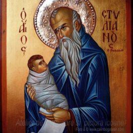 Sfântul Stelian pictură bizantină pe lemn