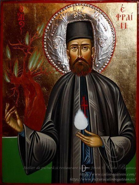 Sfântul Efrem cel Nou, Sfântul Efrem, Efrem, icoană Sfântul Efrem, icoană, icoană bizantină, pictură, în tempera, pe lemn, artă ortodoxă, icoană pe lemn, icoane sfinți, icoană de vanzare, icoană la comandă, calinbogatean, icoană sfânt, pictură pe lemn