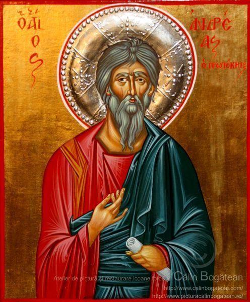 Sfântul apostol Andrei, Sfântul apostol Andrei apostolul românilor, Sfântul Andrei, Sfântul Andrei icoană, Icoană-bizantină, pictură, icoană, tehnica, tempera pe lemn, lucrare de artă ortodoxă, pictură pe lemn, la comandă,de vânzare, Icoană pictată