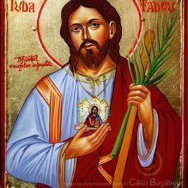 Sfântul Apostol IudaTadeu, Sfântul cauzelor imposibile, sfântul Iuda tadeu, sfântul Iuda tadeu icoană, icoane pe lemn, pictură pelemn, sfântul Iuda tadeu pictură, sfântul Iuda tadeu rugăciune,icoană pe lemn, pictură pe lemn, icoană bizantină, Sfântul Ioan Rusu pictură, lucrare, pictură tradițională, artă religioasă, icoană, pictură pe lemn, icoană în tempera, emulsie de ou, Icoană pictată, icoană de vânzare, pictură naivă, icoană pictată, Sfântul Apostol IudaTadeurugăciune