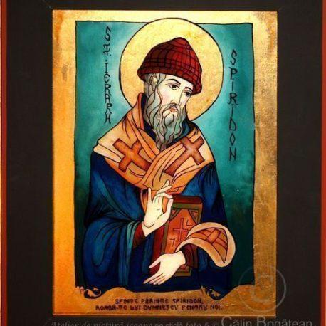 Sfântul Ierarh Spiridon, Sfântu Spiridon, Sfântul Ierarh Spiridon Corfu, icoană tradițională, Icoană pictată pe sticlă, Roxana Bogătean, pictură naivă, artă românească, icoană pe sticlă, pictură în tempera, de vânzare, la comandă, piridonrugăciune
