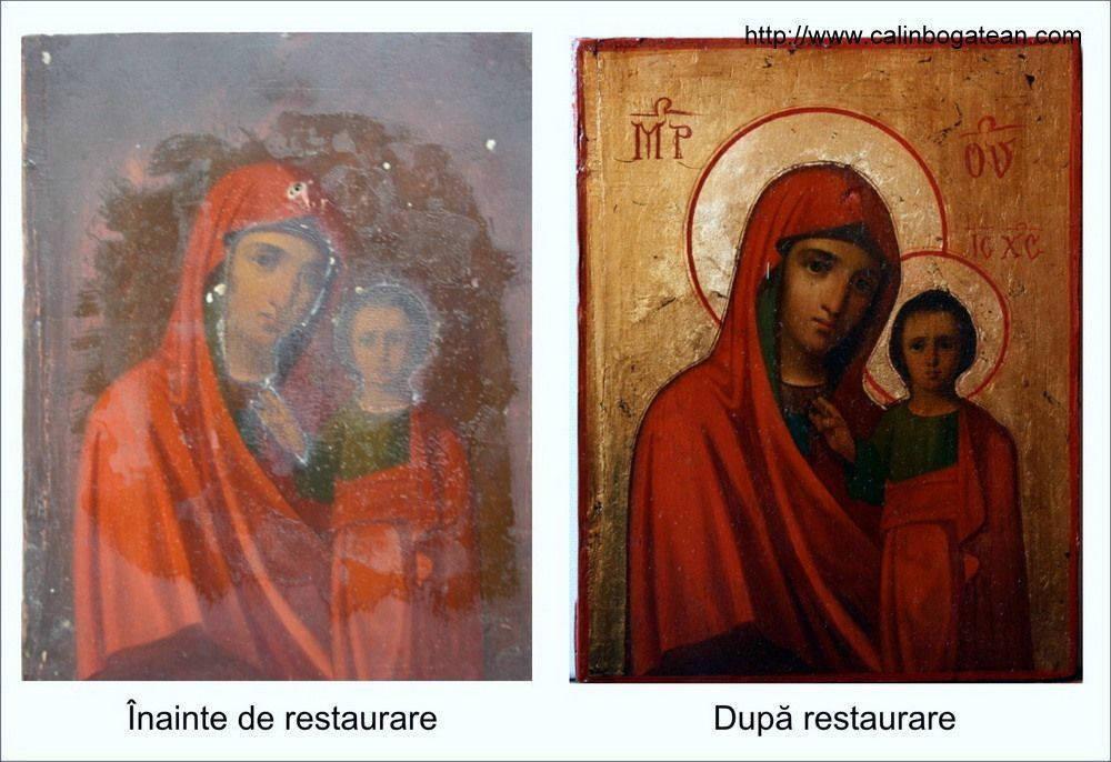 Restaurare  icoană Maica Domnului cu Pruncul  icoană ferecată