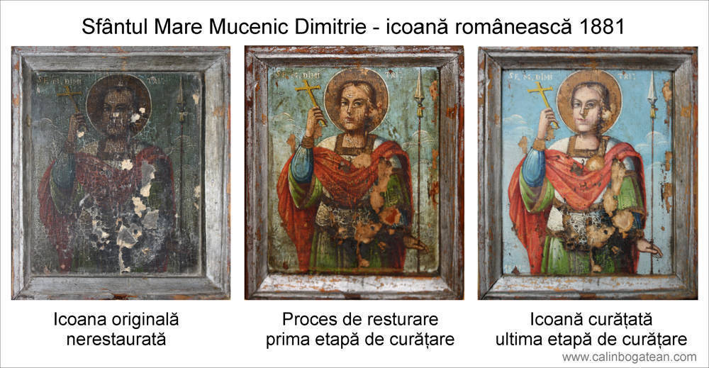 Restaurare icoană pe lemn Sfântul Dimitrie