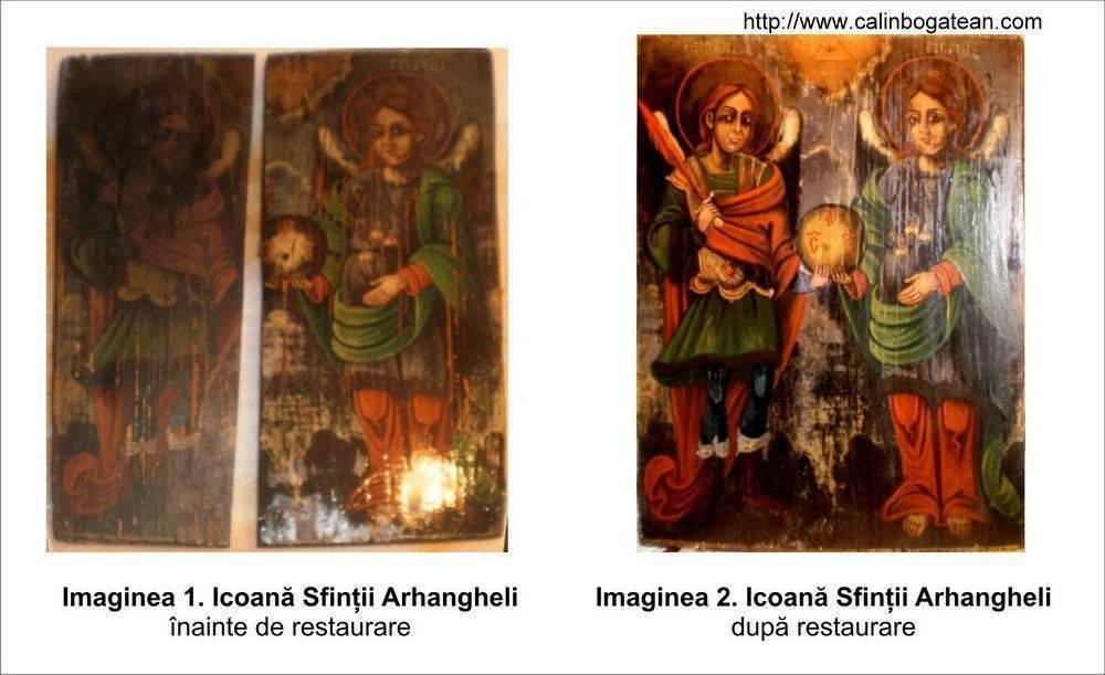 Restaurare icoană Sfinții Arhangheli Mihail și Gabriel