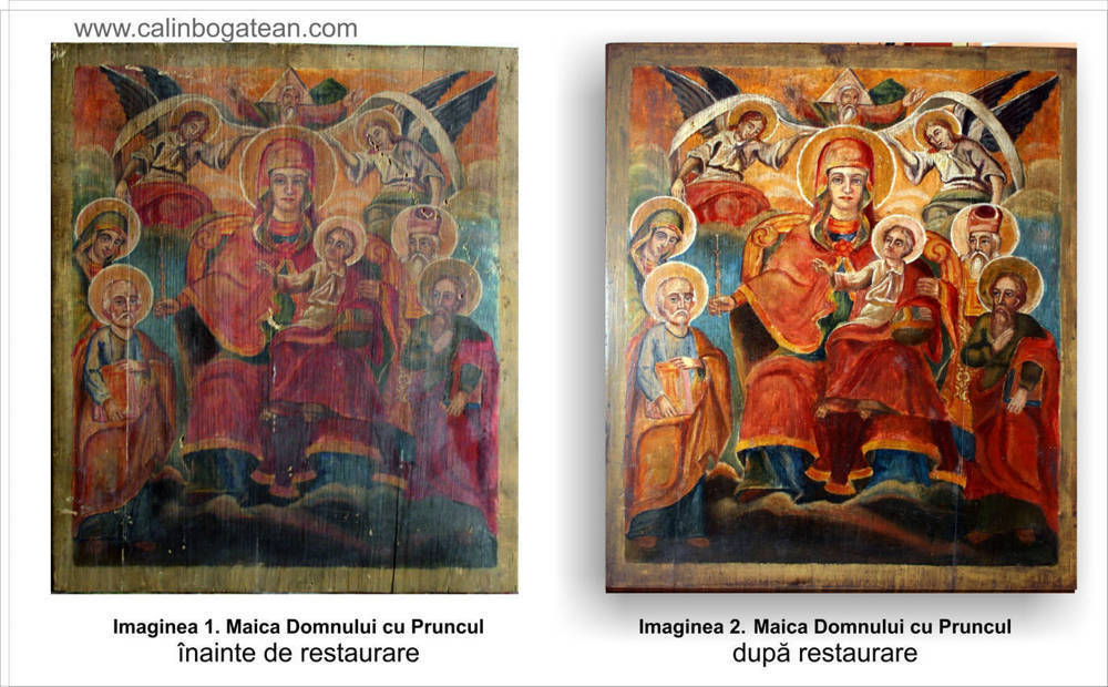 Restaurare  icoană Maica Domnului cu Pruncul înconjurată de sfinți