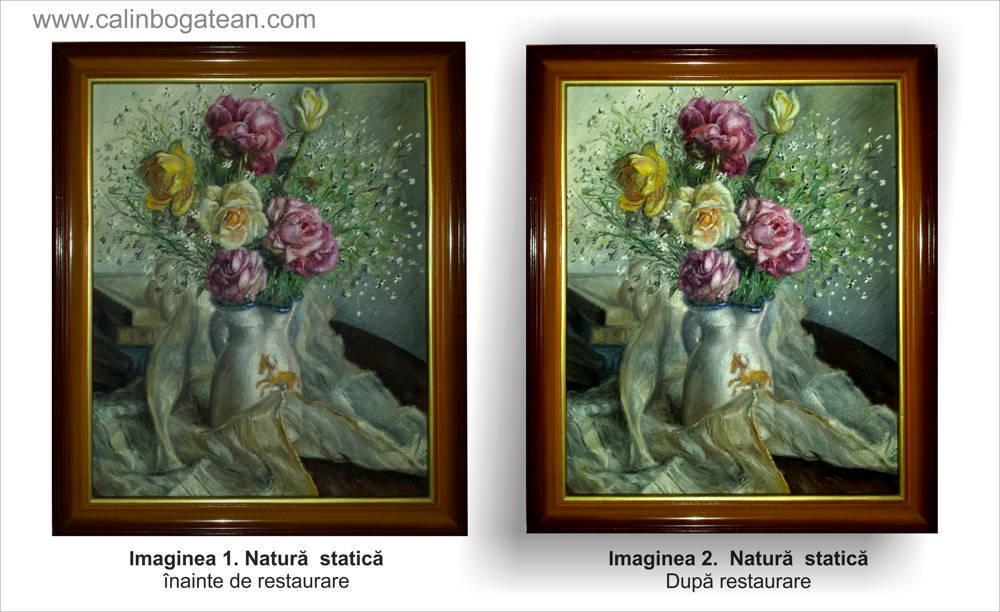 Restaurare natură statică cu flori trandafiri roz și galbeni în vas