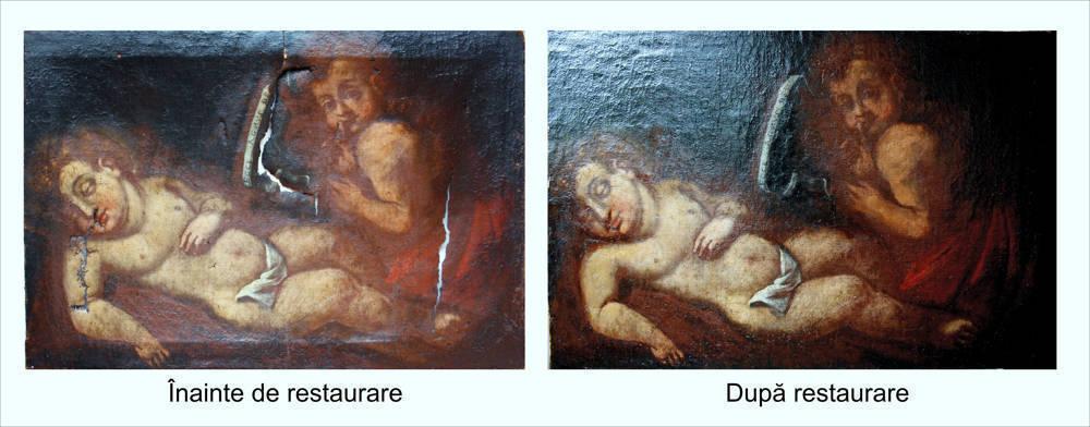 Restaurare tablou Ioan Botezătorul și Iisus copii