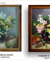 Restaurare tablou natură moartă cu flori galbene roz și albe în vas și cărți