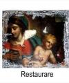 Restaurare tablou Madona cu pruncul pictură realistă